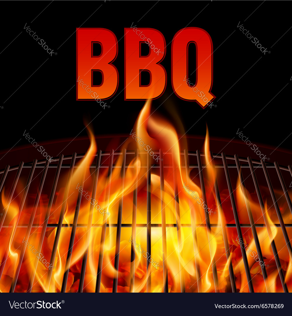 Bbq grill fire vector