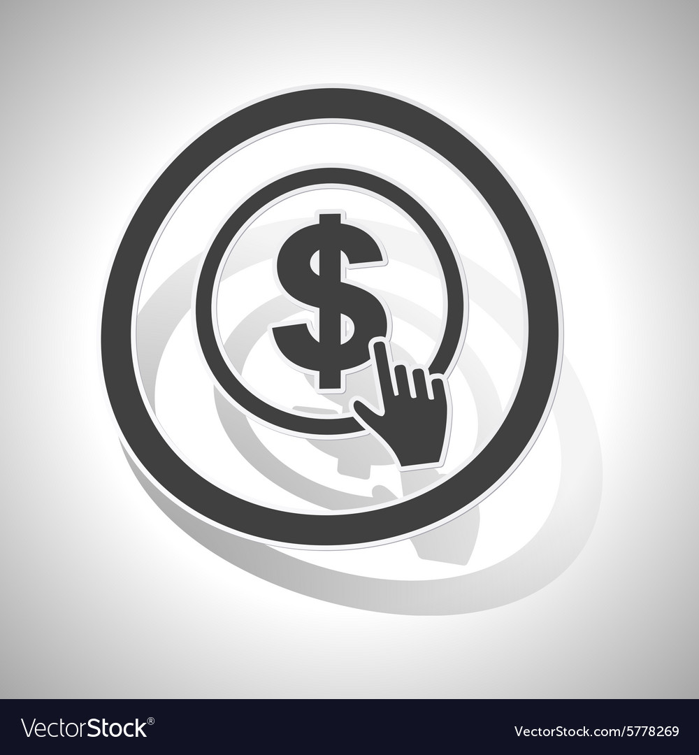 Dollar click sign sticker curved vector