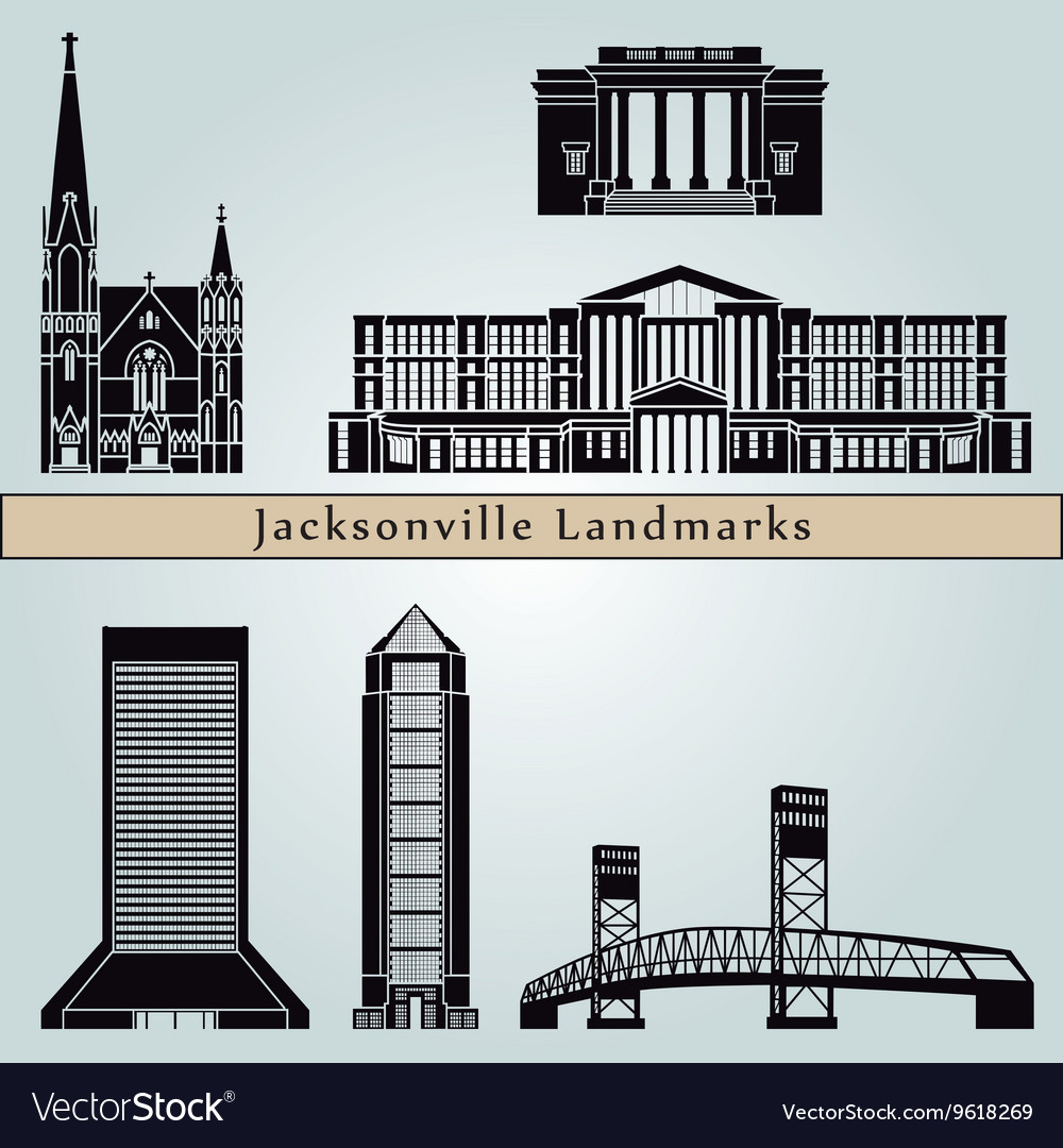 Jacksonville landmarks and monuments vector