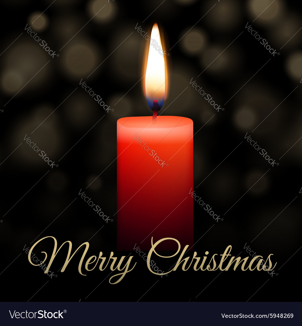 Merry christmas candle vector