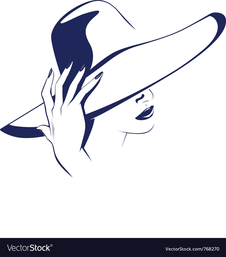 Beauty women portrait with the hat vector