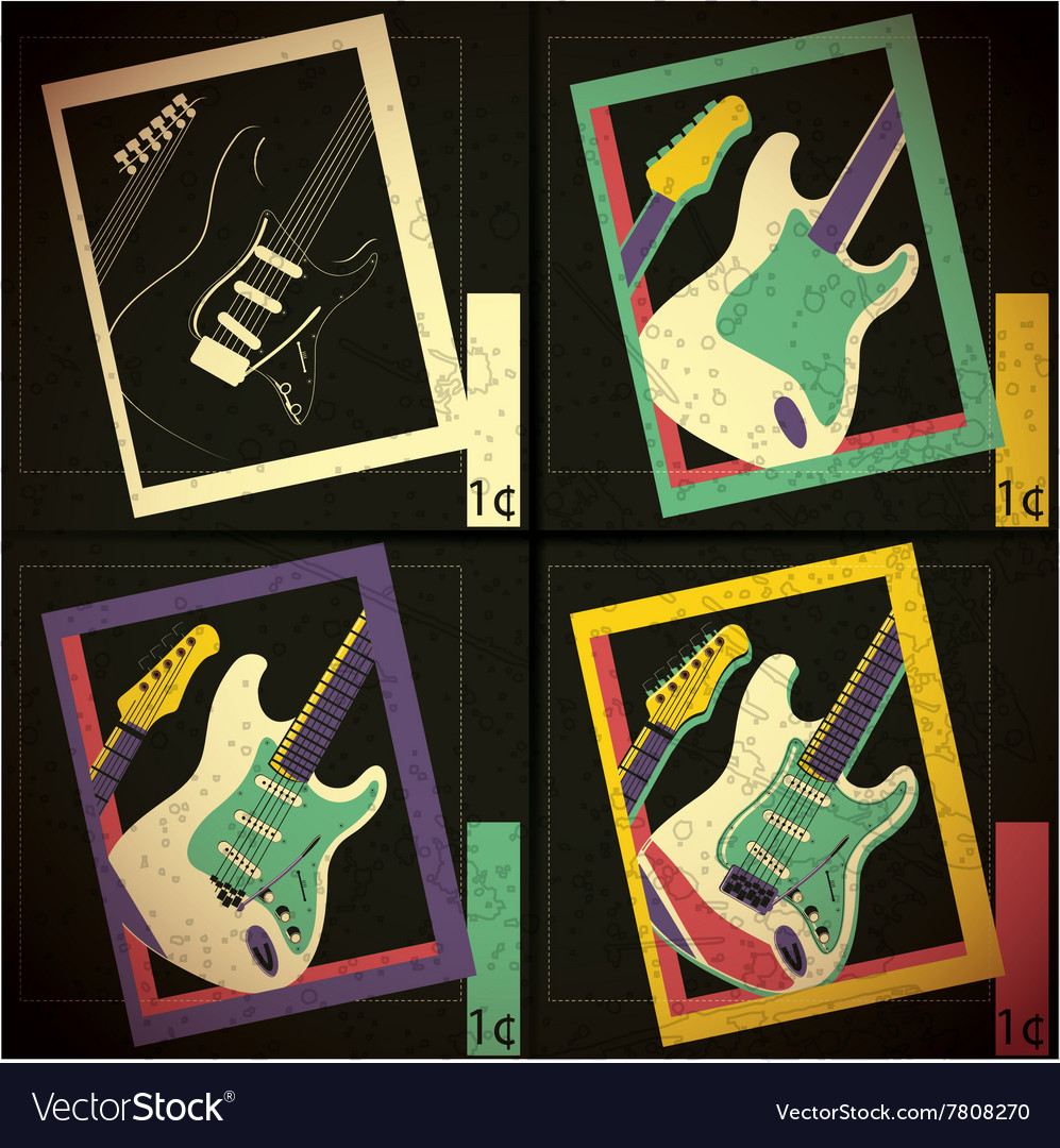 Set of four guitars in frame vector