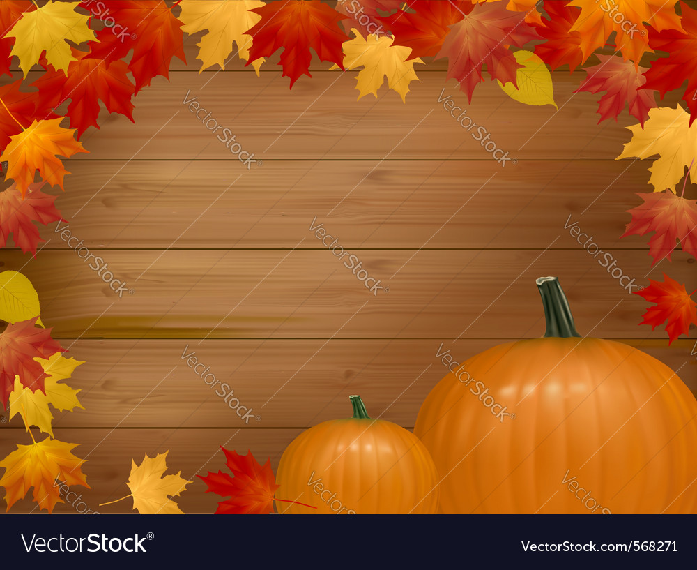 Autumn background with pumpkins vector
