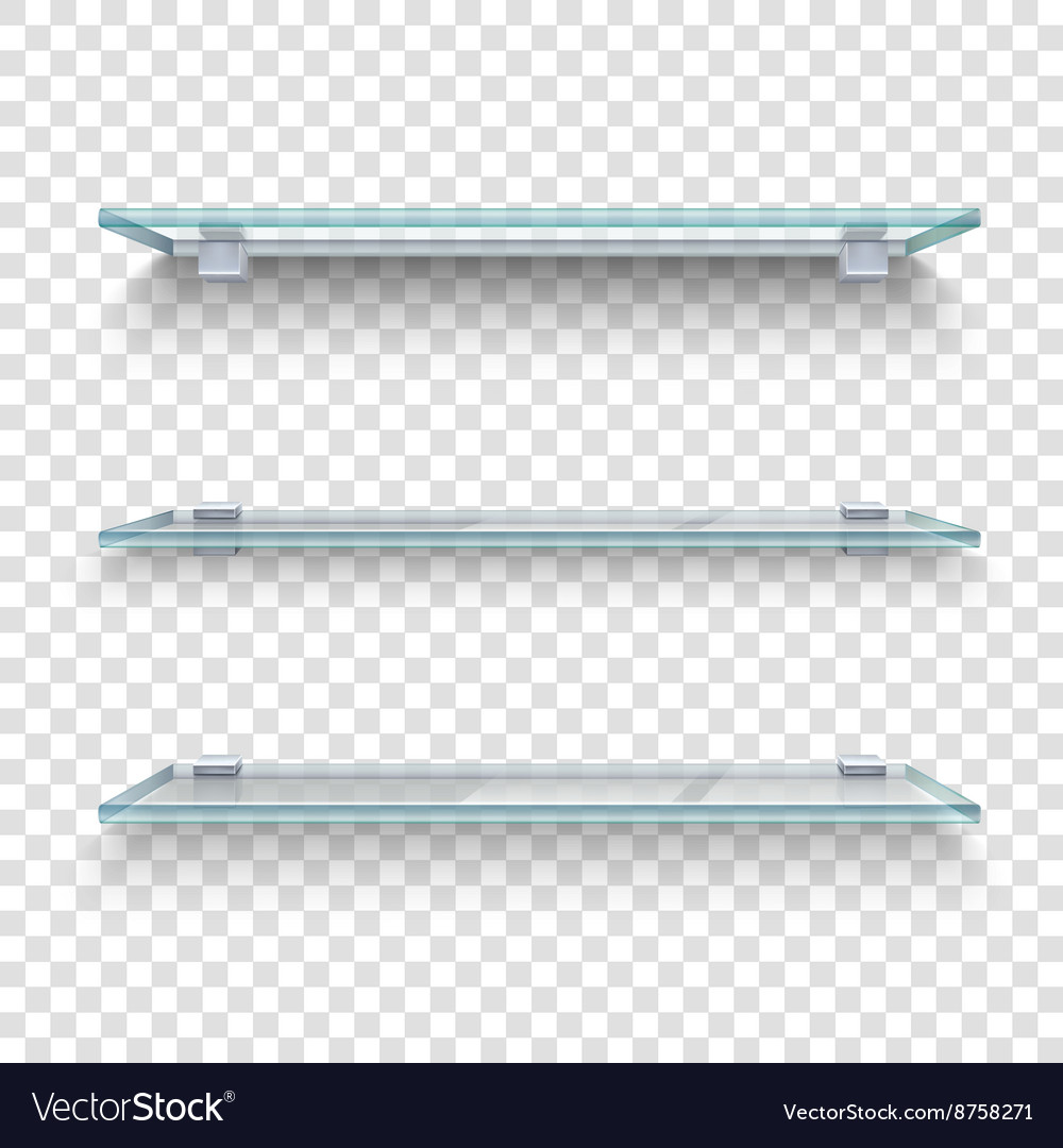 Glass shelves transparent background vector