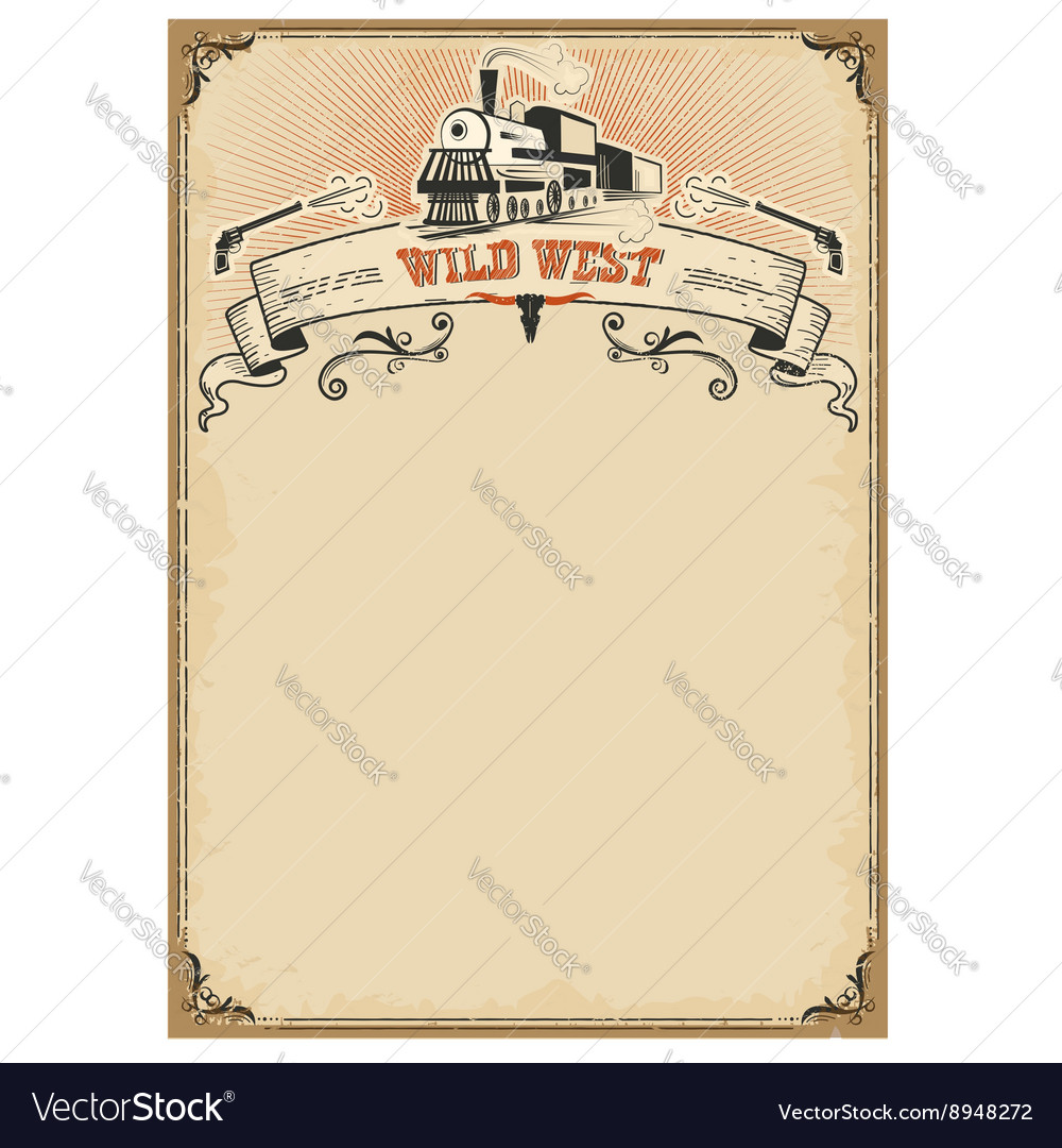 American western background with old locomotive vector