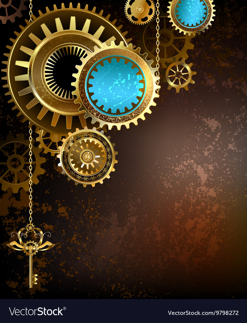 Gears on rusty background vector