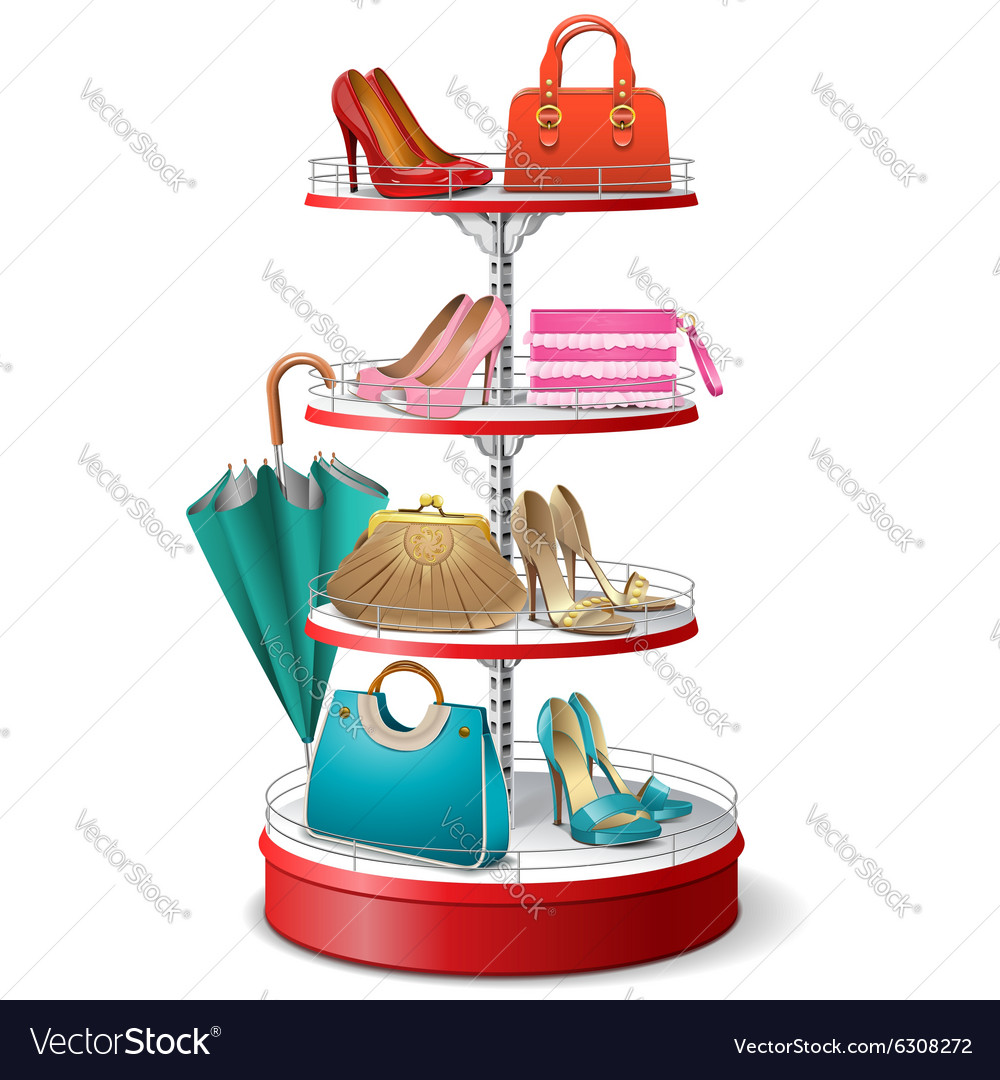 Round shelf with female accessories vector