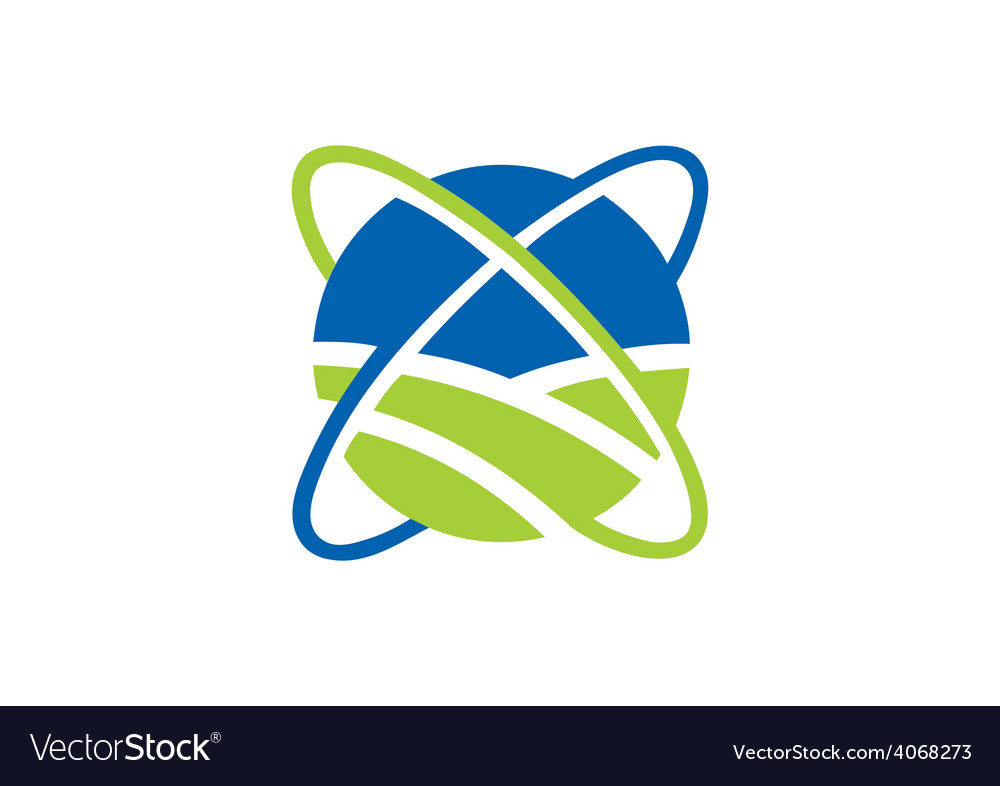 Globe orbit abstract communication logo vector