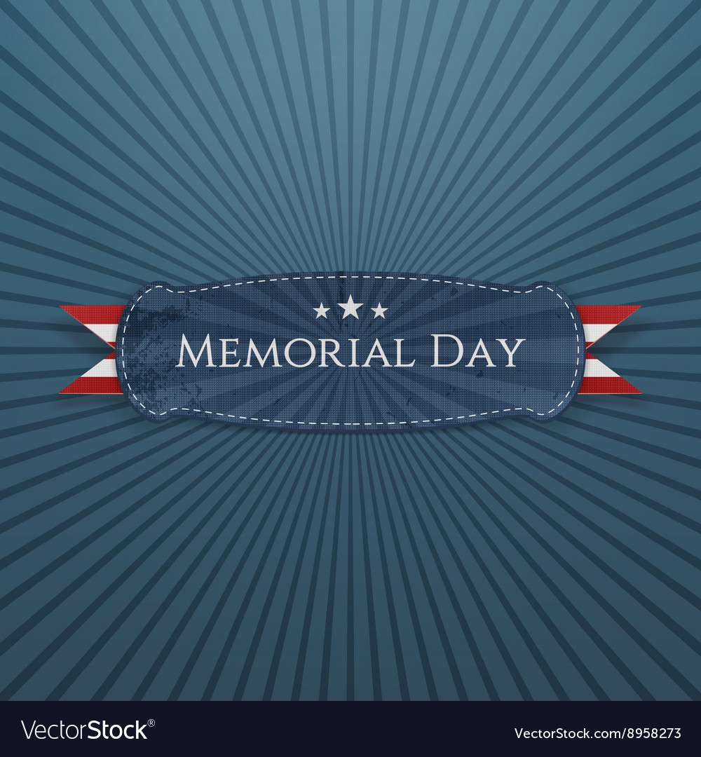 Memorial day festive banner and ribbon vector