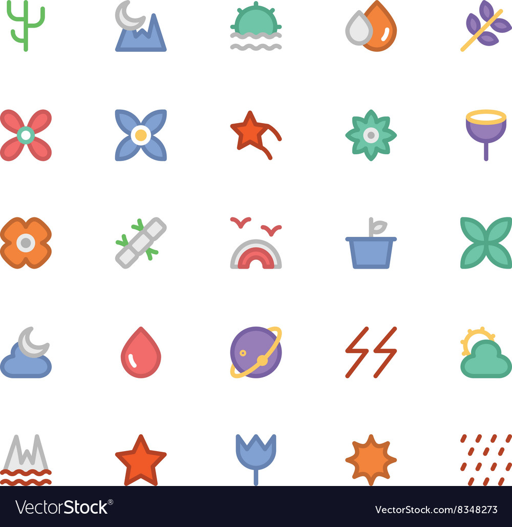 Nature colored icons 6 vector
