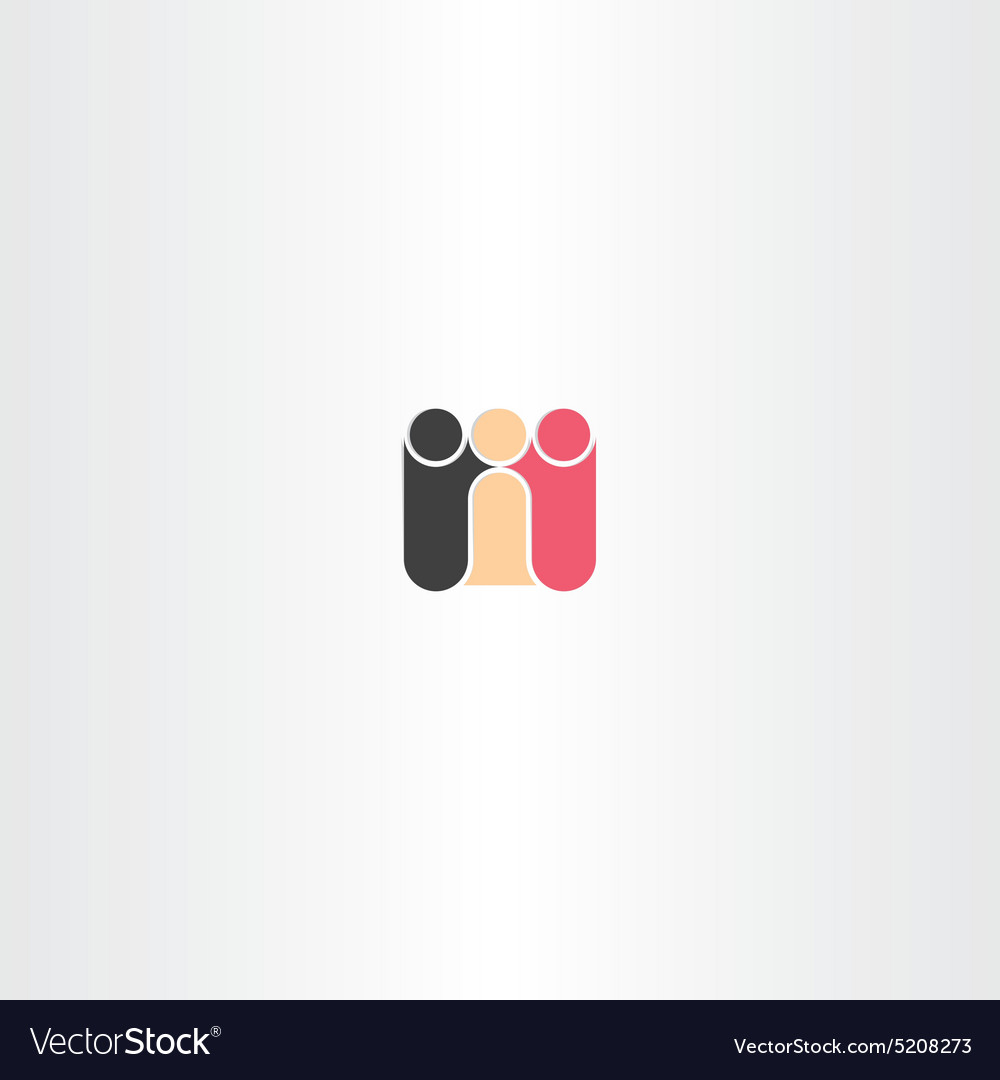 People races friends icon vector