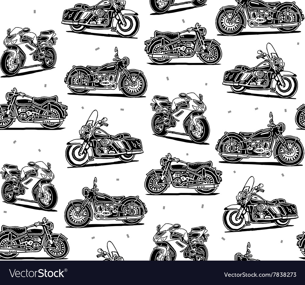 Retro motorcycles seamless pattern vector