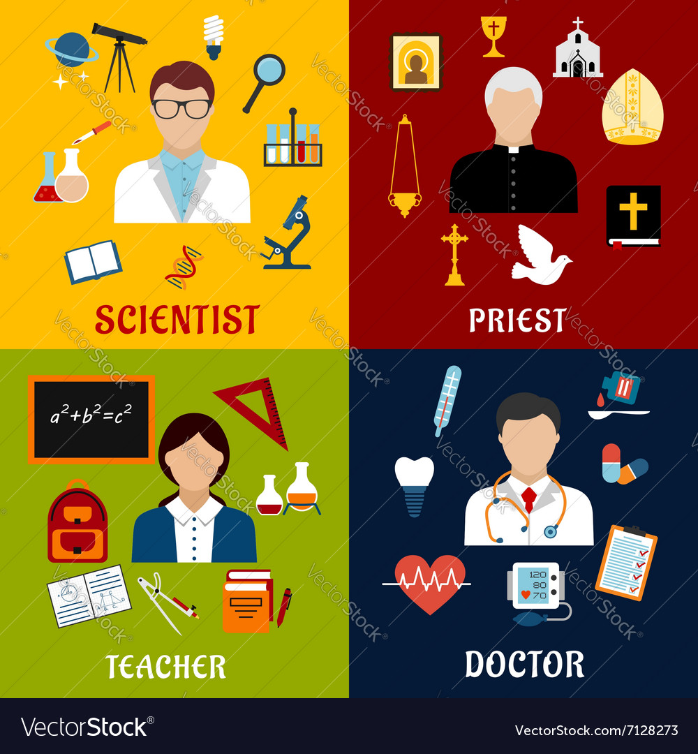 Scientist teacher doctor and priest professions vector
