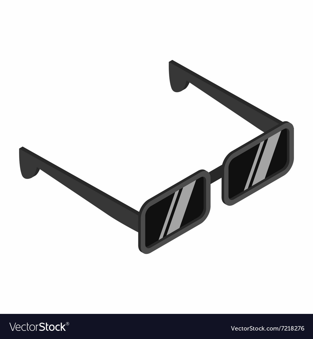 Black sunglasses isometric 3d icon vector