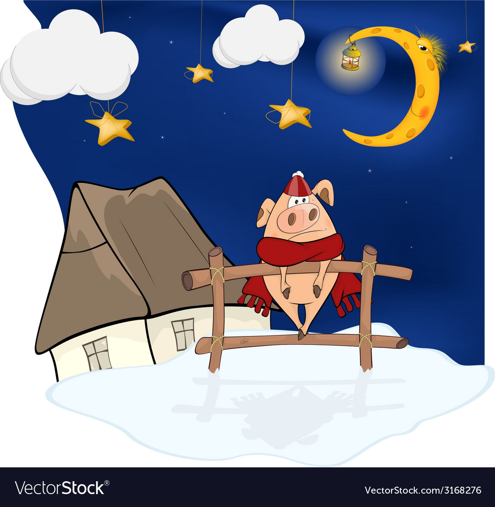 Little pig and christmas night vector