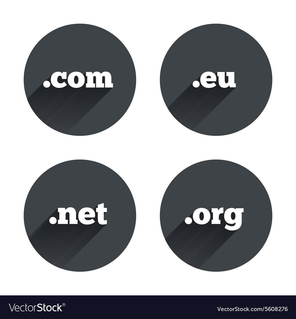 Toplevel domains signs com eu net and org vector