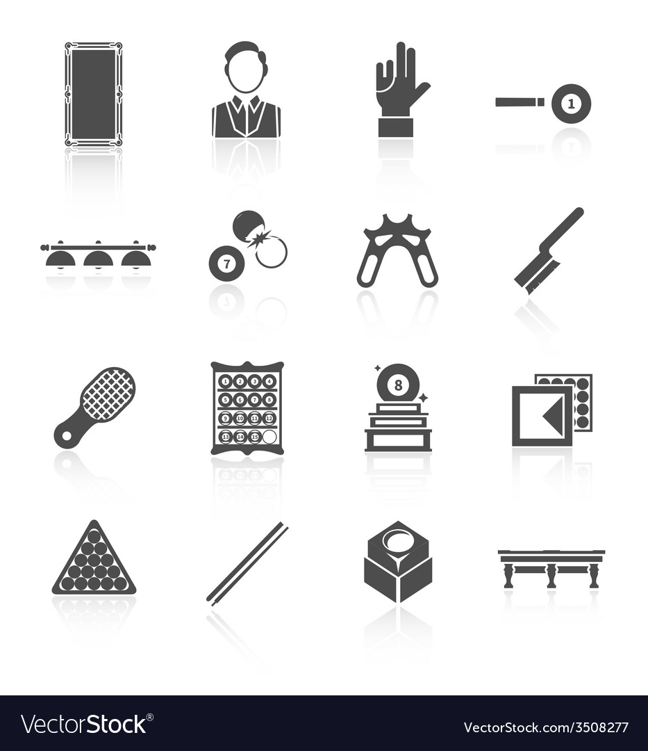 Billiards black icons set vector