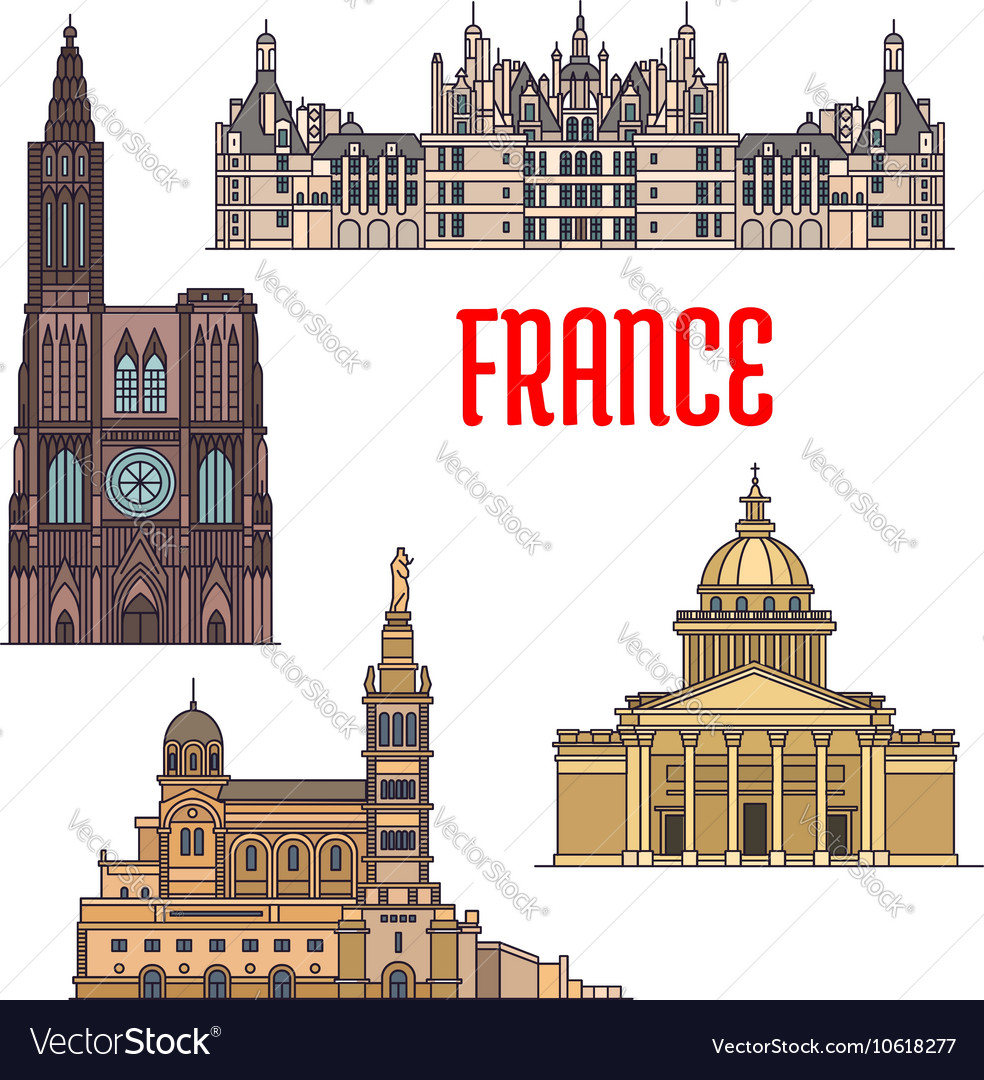 French travel sights icon in thin line style vector