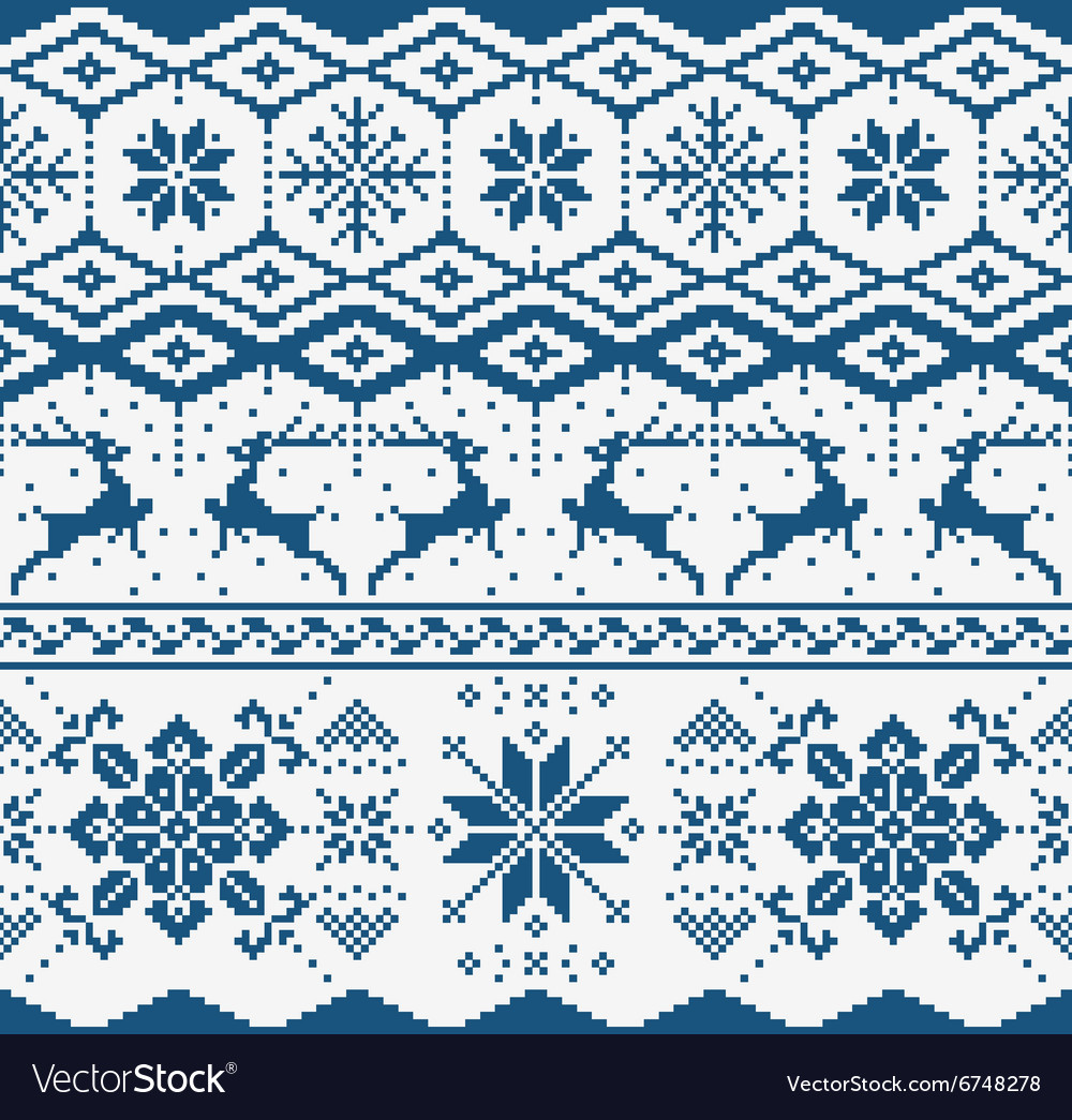 Christmas knitted seamless pattern vector