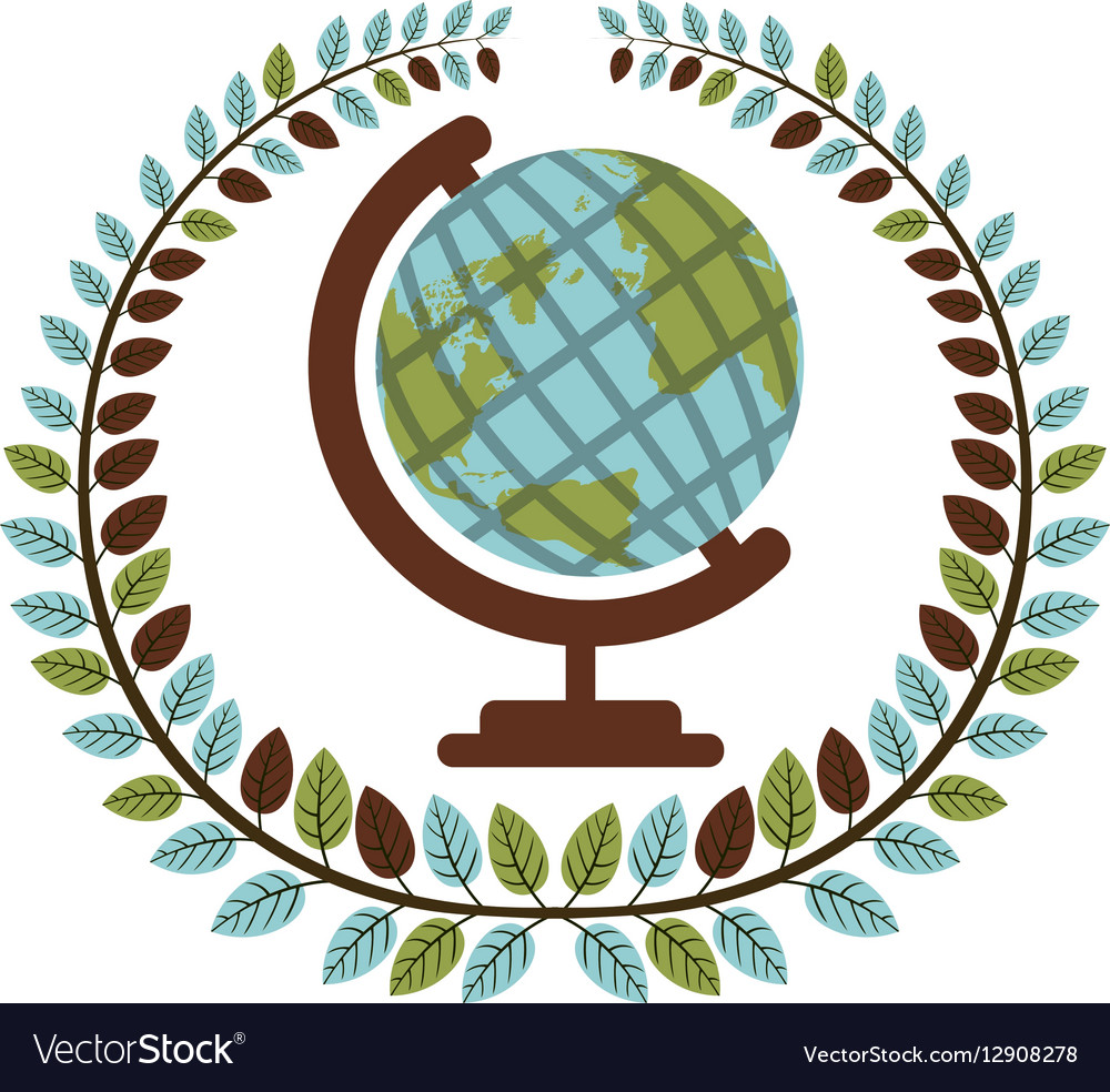 Crown of leaves with earth world map vector