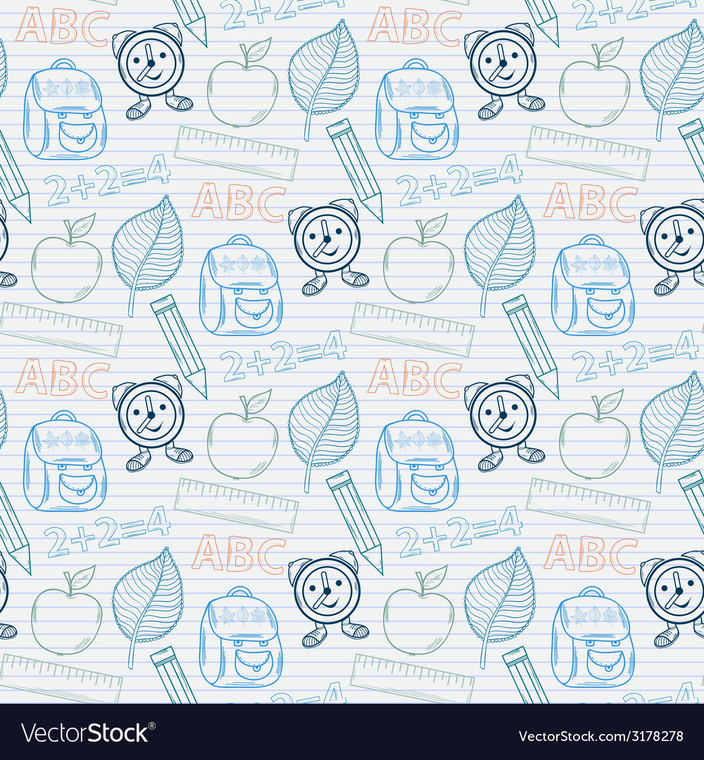 School pattern on the notebook sheet in line vector