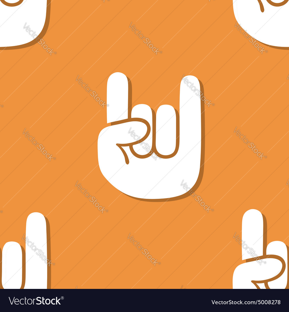 Seamless rock gesture pattern vector