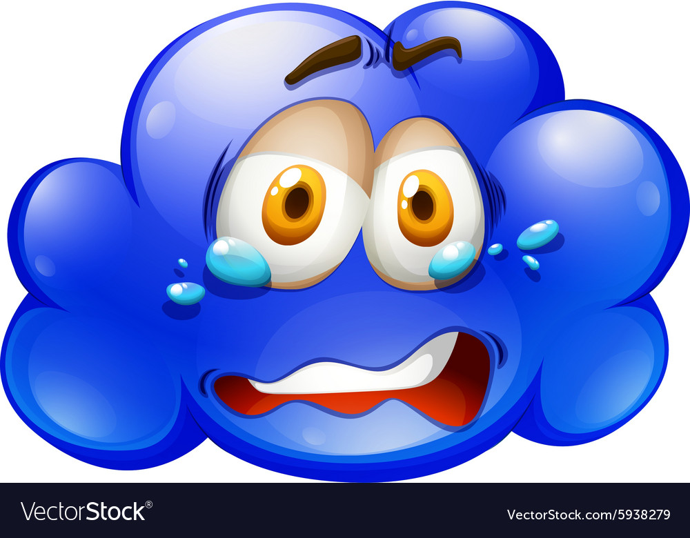 Blue cloud with sad face vector