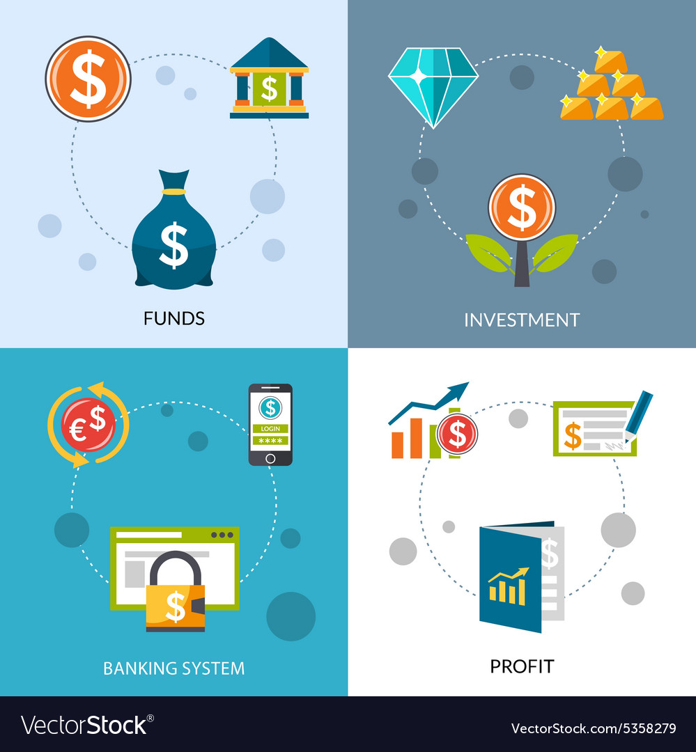 Investment funds profit icons set vector