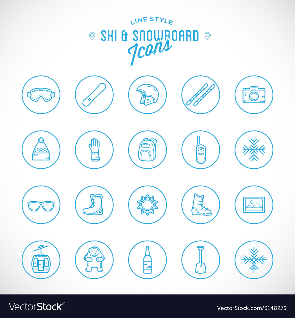Line style ski resort vacation icon set vector