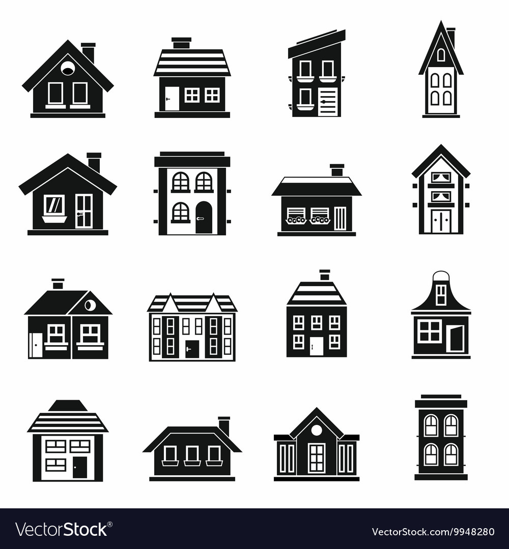 House icons set simple style vector