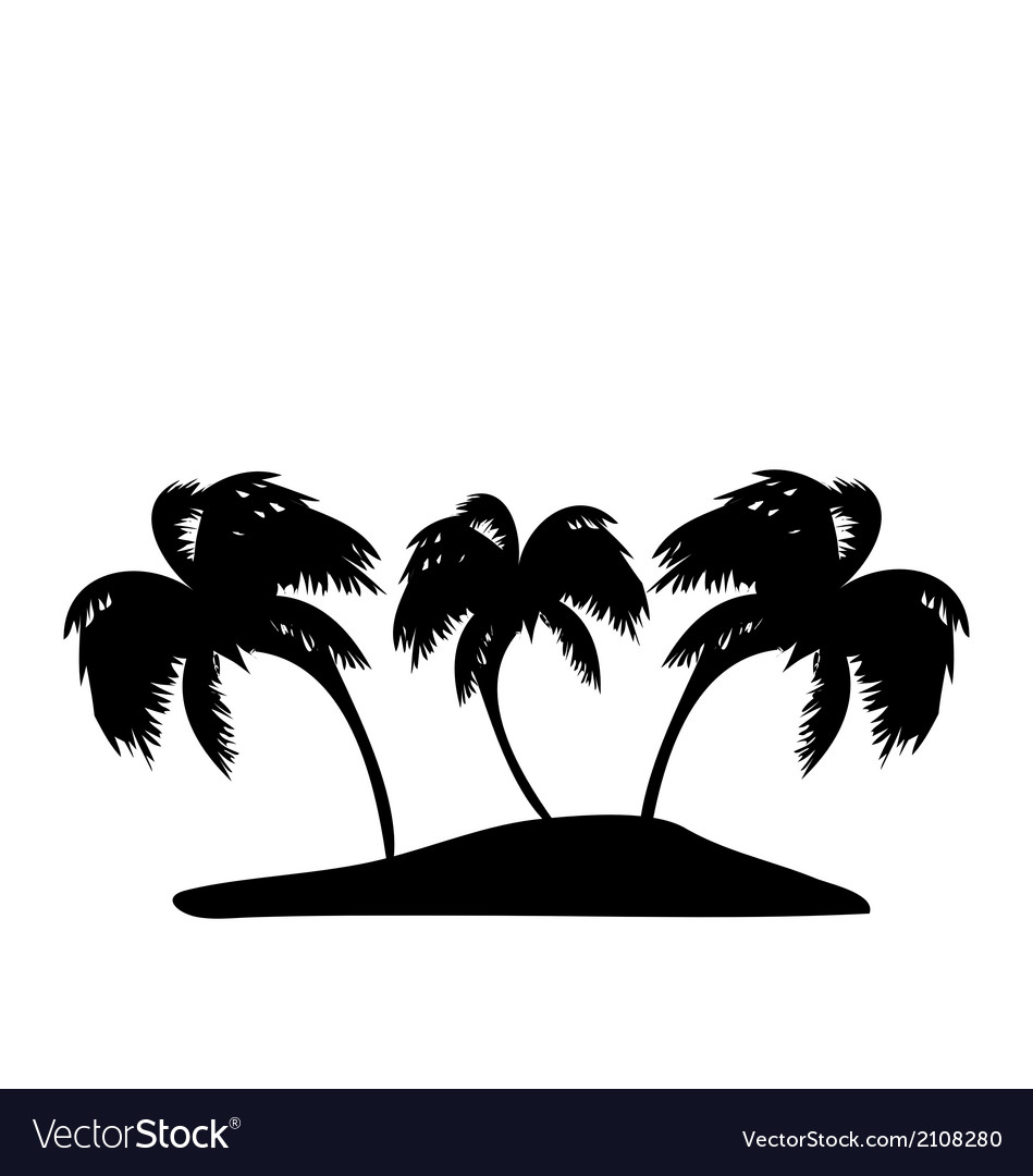 Tropical island with palm trees silhouette vector