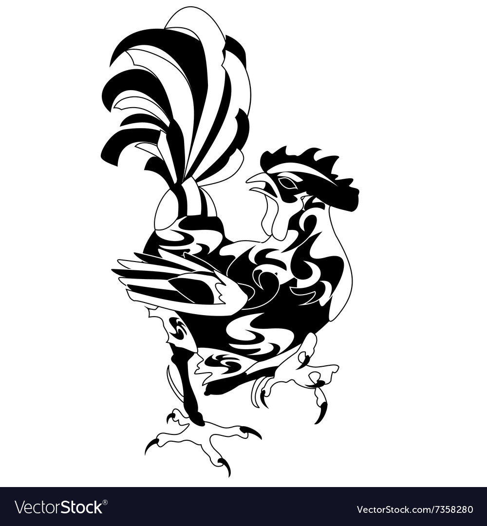Vintage black rooster isolated vector