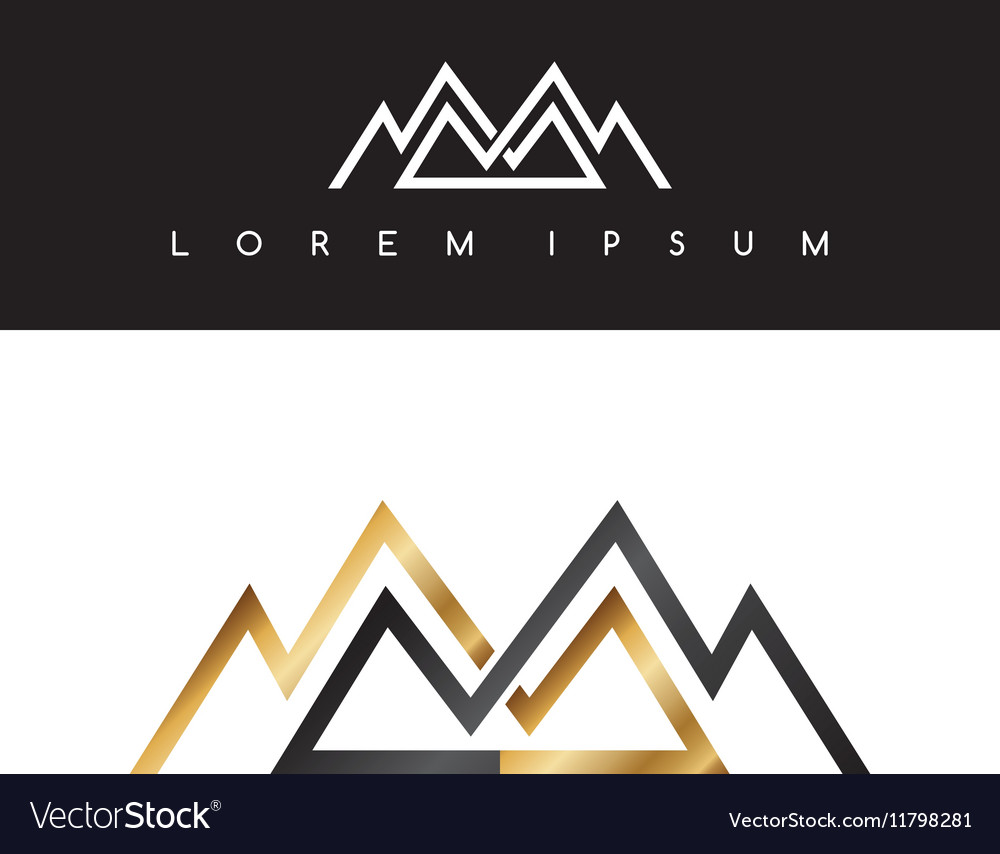 Overlapped line mountains symbol golden vector