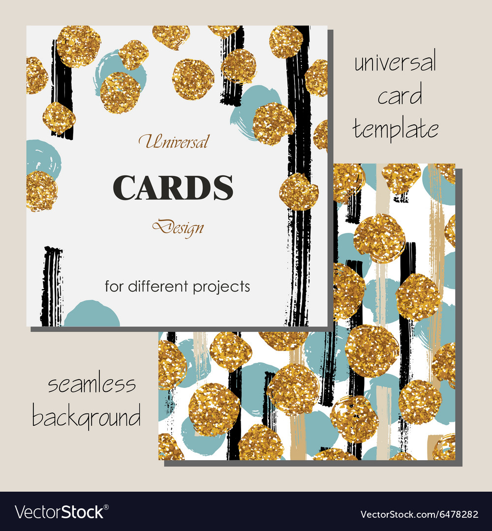 Universal modern stylish card template with golden vector