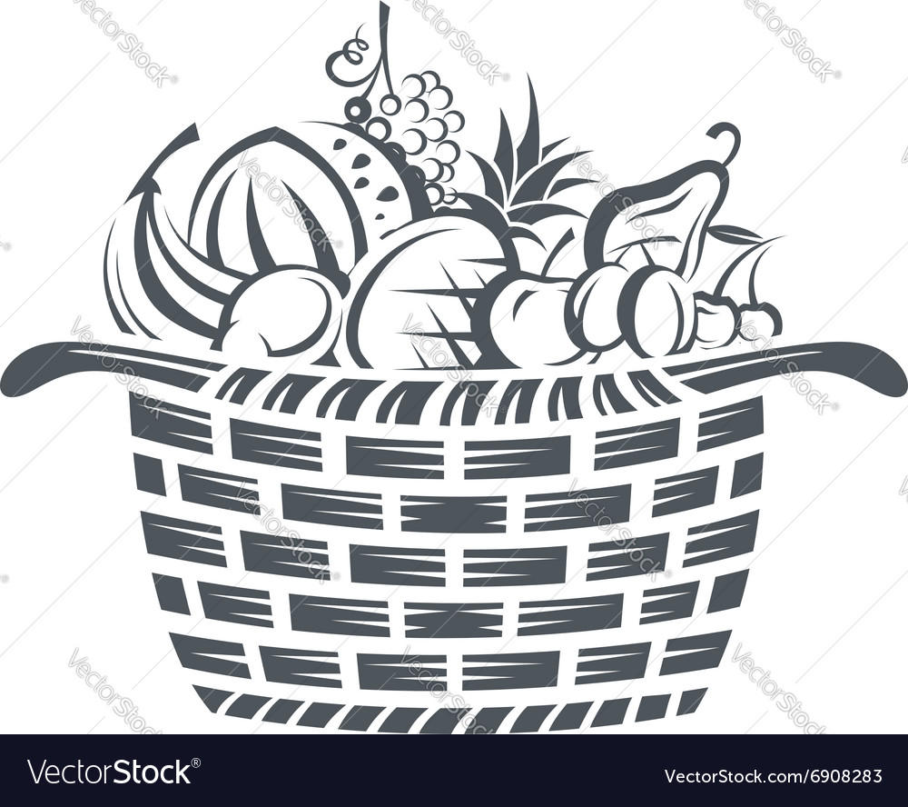 Basket with fruits vector