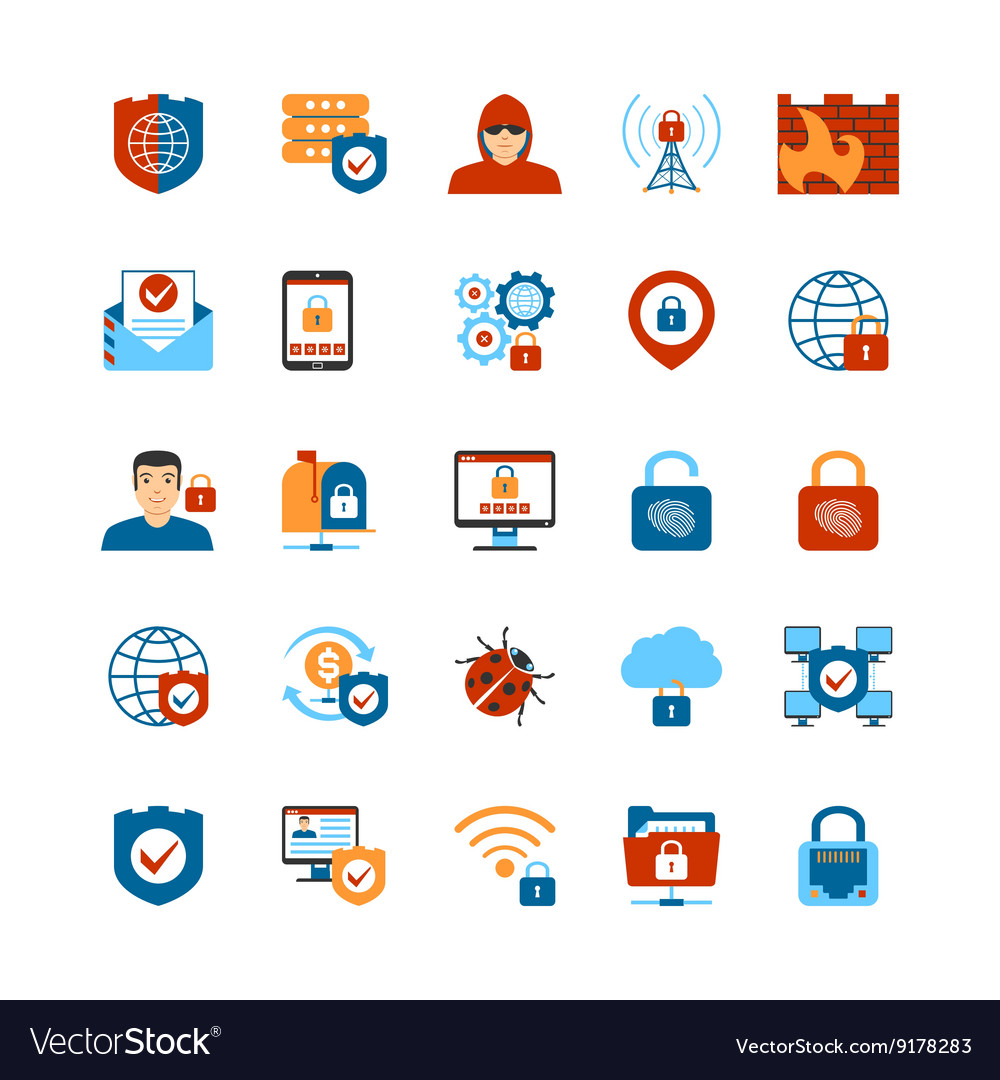 Flat design internet security icons vector