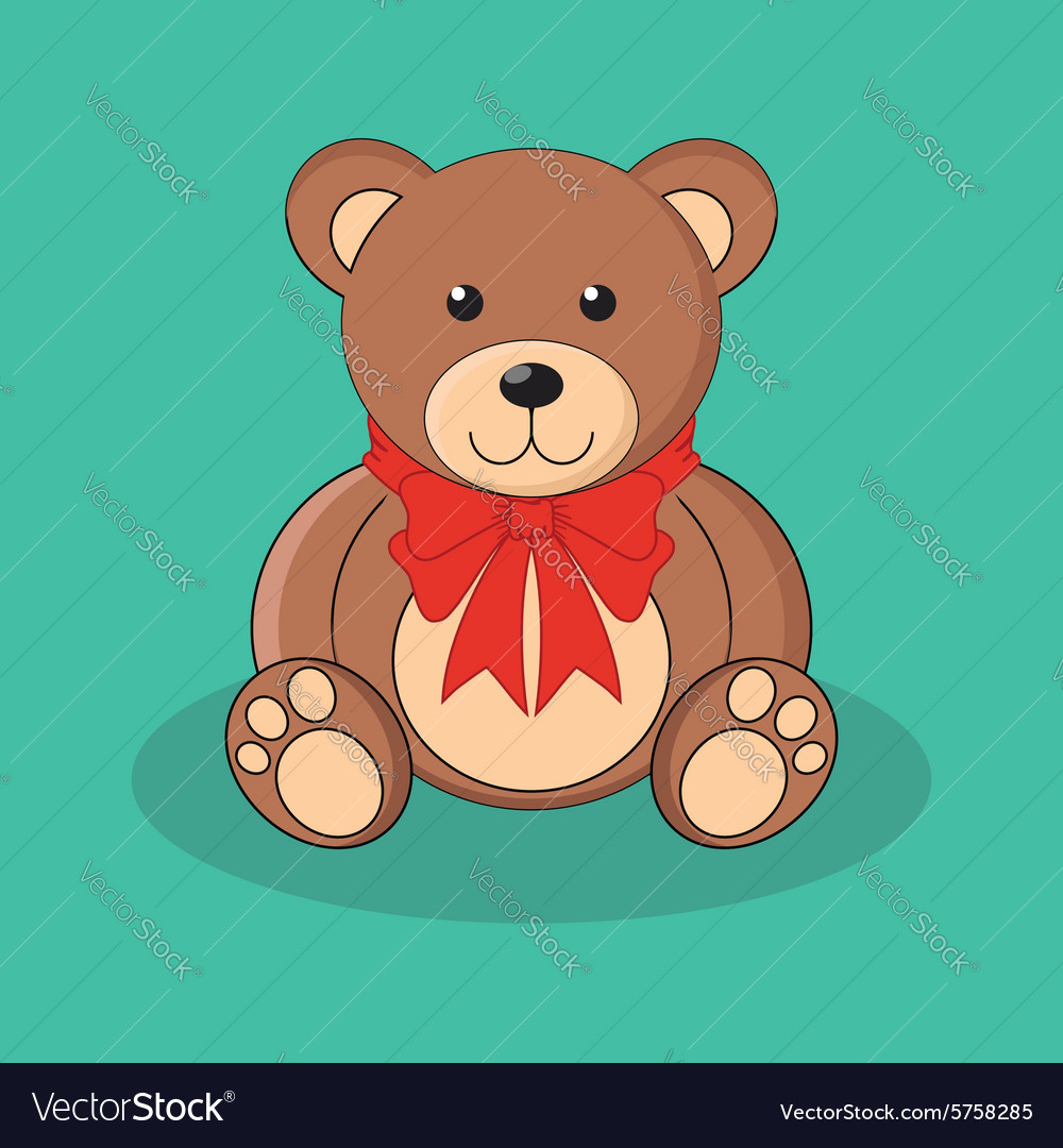 Cute brown teddy bear toy with red bow vector