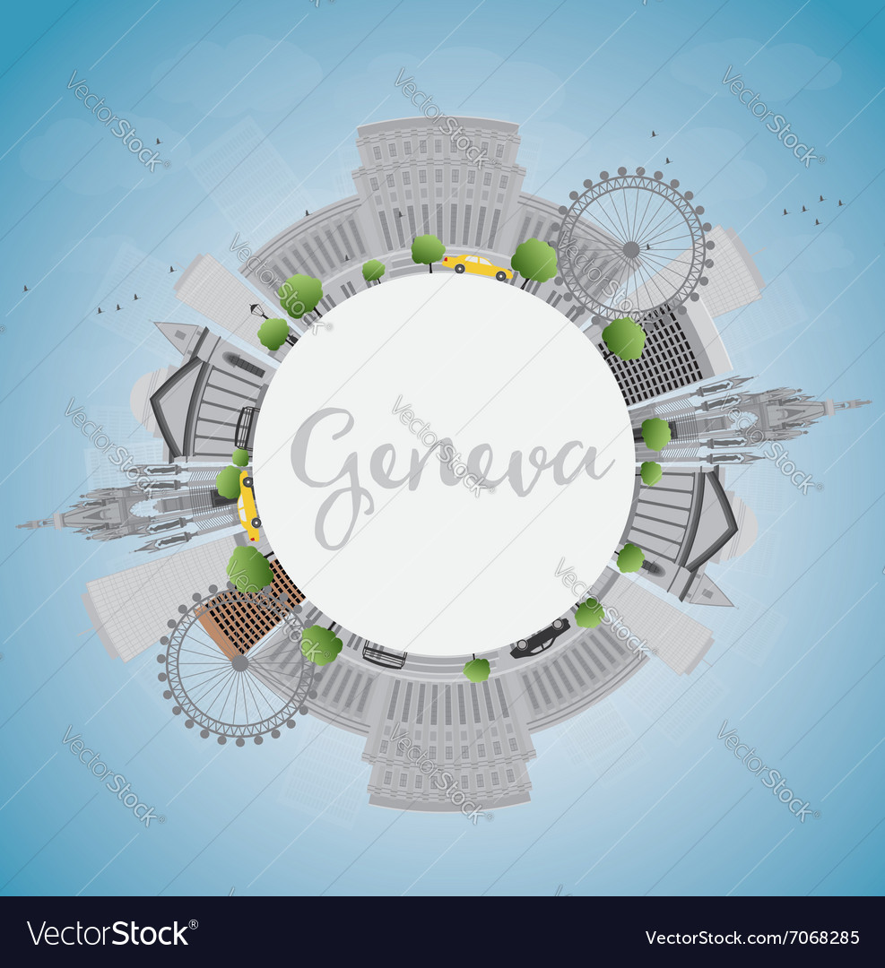 Geneva skyline with grey landmarks vector