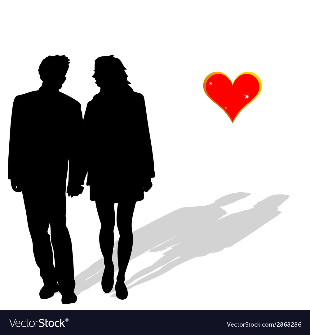 Couple in love silhouette vector