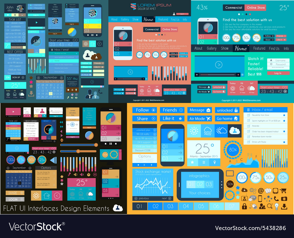 Flat ui mega collection icons web and technology vector