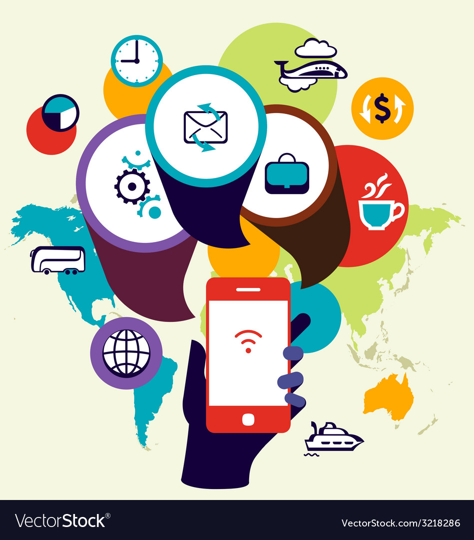 Mobile phone device seo optimization business vector
