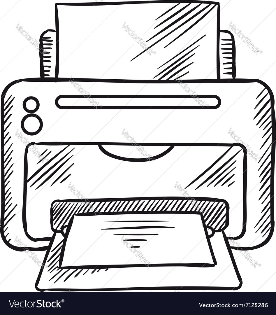 Sketch icon of office inkjet printer with paper vector