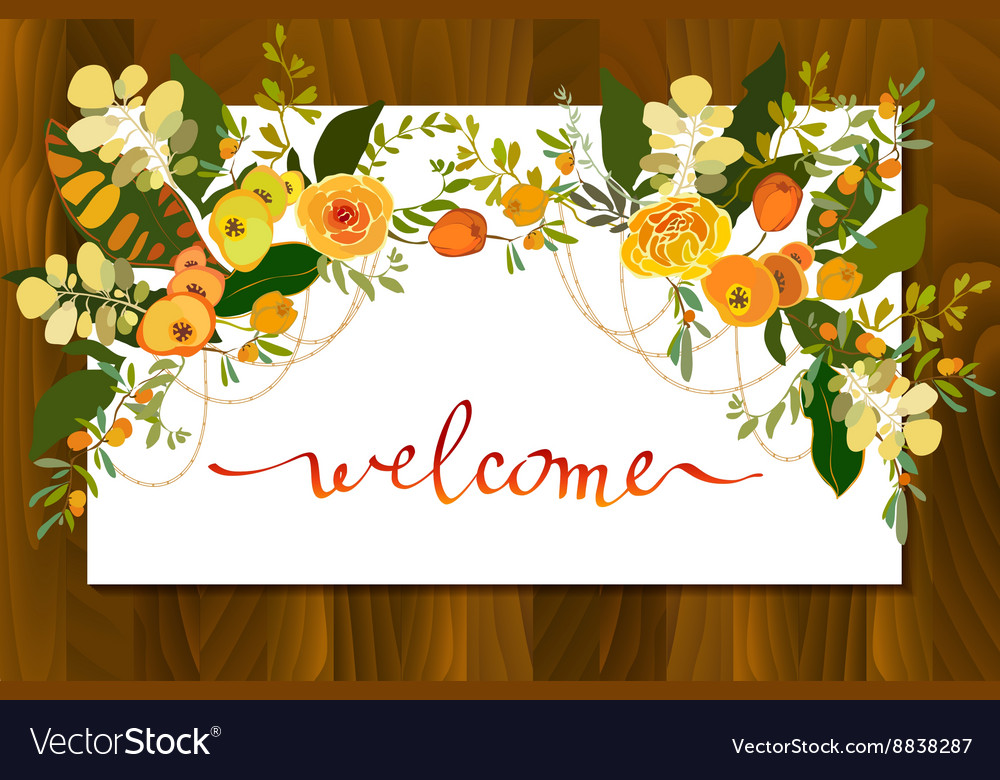 Calligraphy floral card vector