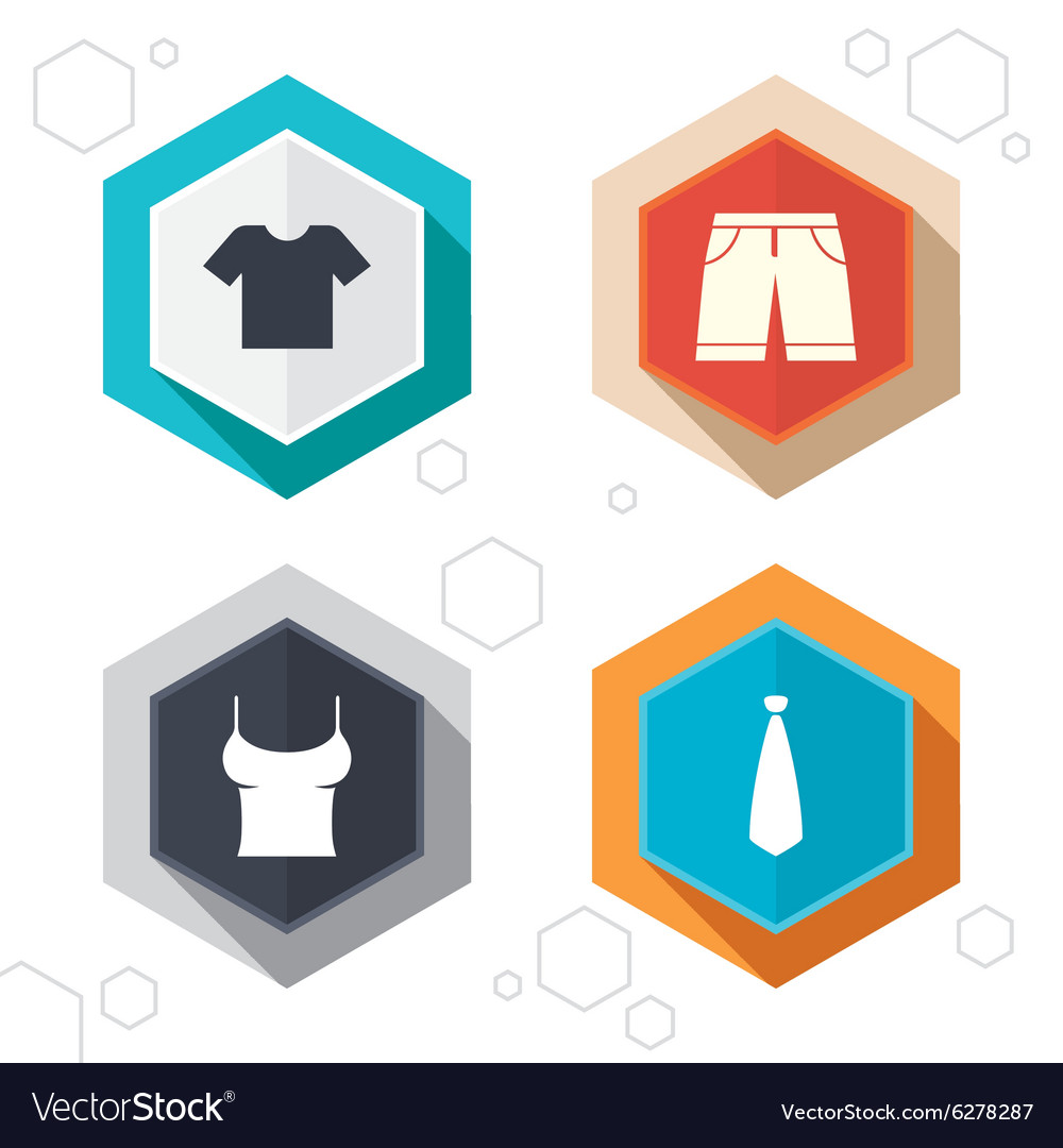 Clothes signs tshirt and pants with shorts vector