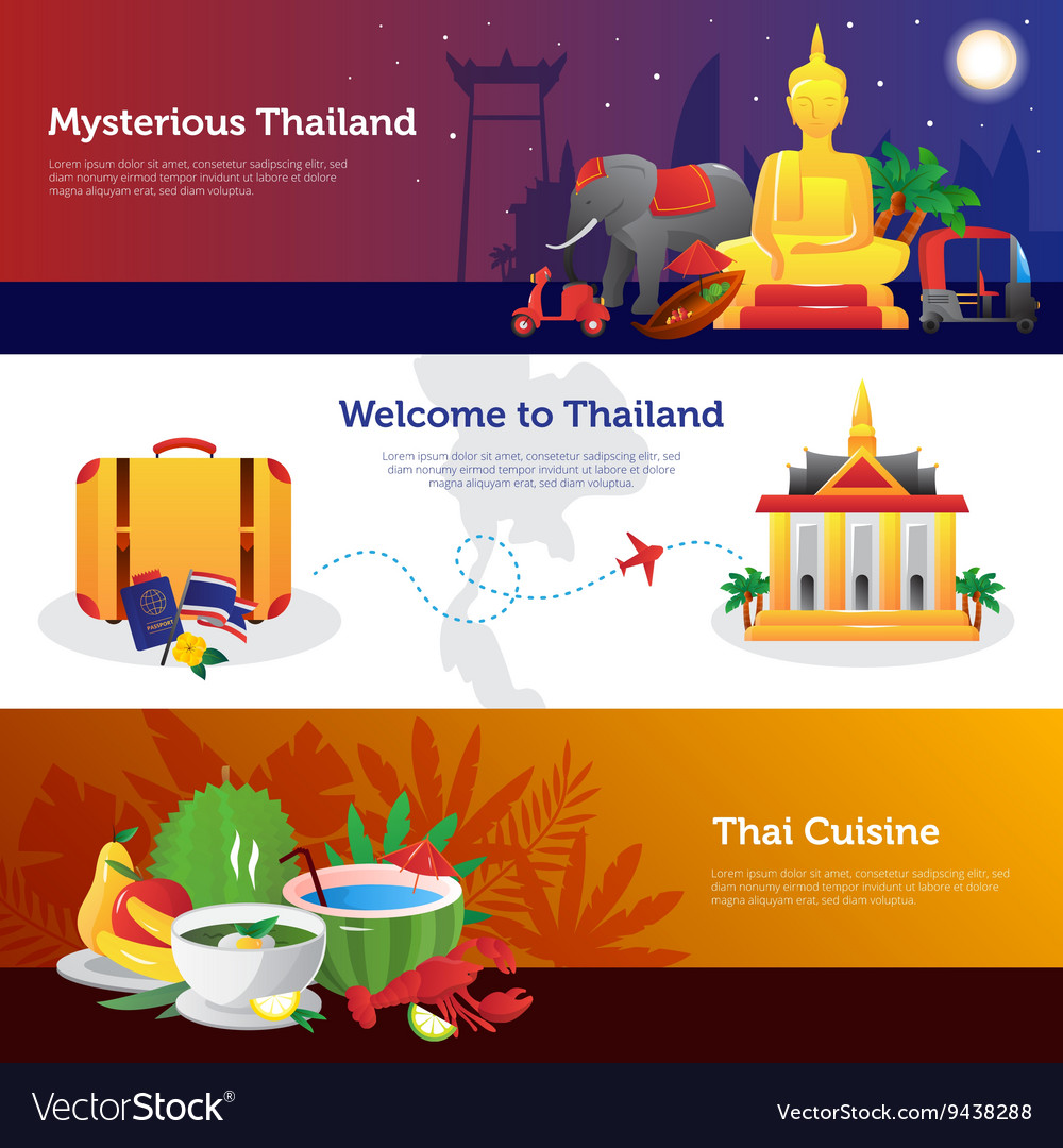 Thailand travel horizontal banners set vector