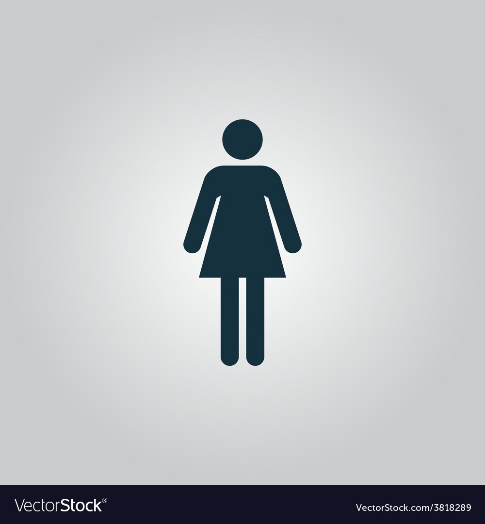 Woman icon on a grey background vector