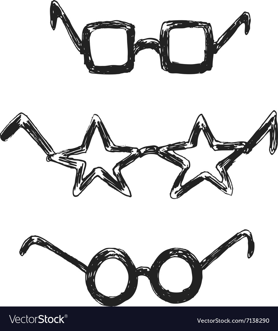 Hand sketch funny glasses vector