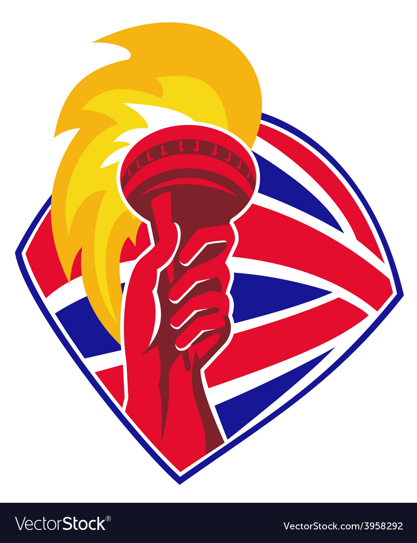 Hand hold flaming torch british flag retro vector