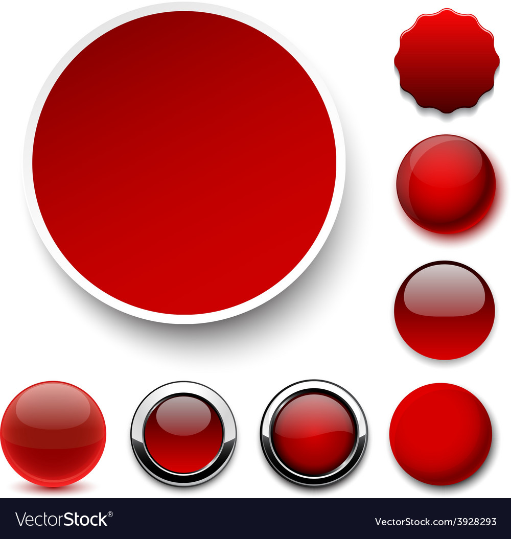 Round red icons vector