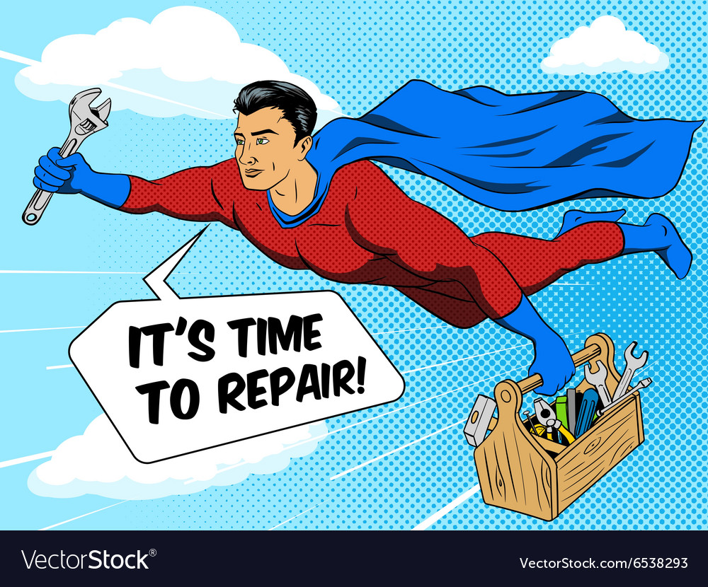 Superhero man and tool box comic book style vector